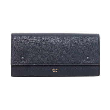 Celine Navy Blue Drummed Calfskin Large Multifunction Flap Wallet