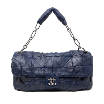 Chanel Navy Quilted Lambskin Soft Squares Origami Flap Bag