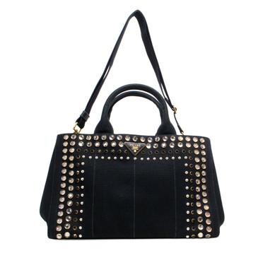Prada Black Canapa Canvas Crystal Studded Tote