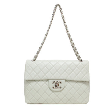 Chanel Ivory Quilted Caviar Maxi Single Flap