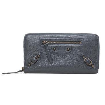 Balenciaga Grey Lambskin Classic Continental Zip Around Wallet