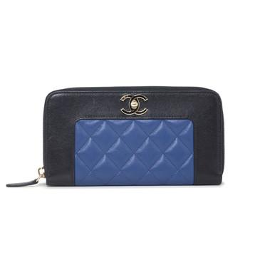 Chanel Bicolor Calfskin Zip Around  Wallet