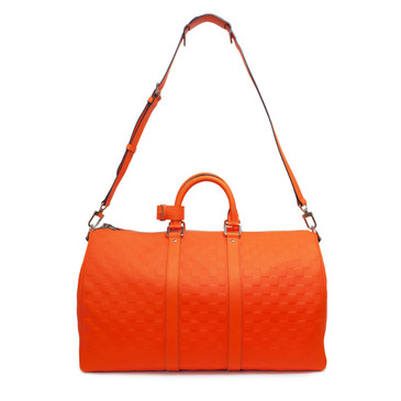 Louis Vuitton Orange Damier Infini Leather Keepall Bandouliere 45