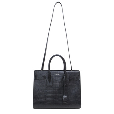 Saint Laurent Black Crocodile Embossed Small Sac De Jour