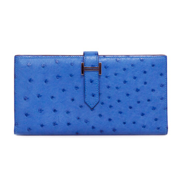 Hermes Blue Ostrich Bearn Gusset Wallet