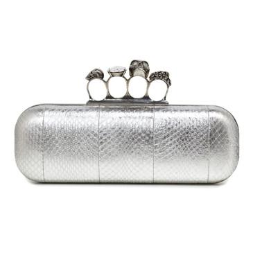 Alexander McQueen Silver Python Knuckle Box Clutch