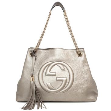 Gucci Metallic Gold Pebbled Calfskin Medium Soho Chain Shoulder Bag