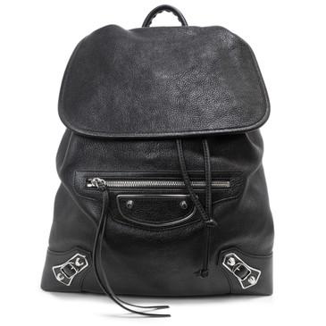 Balenciaga Black Goatskin Metallic Edge Traveler Backpack