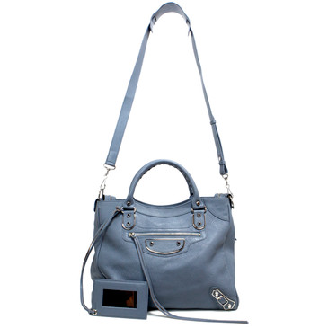 Balenciaga Steel Blue Goatskin Metallic Edge Velo Crossbody