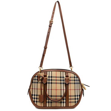 Burberry Tan Horseferry Check Canvas Small Orchard Bowling Bag