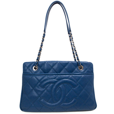 Chanel Blue Quilted Caviar Timeless Soft Tote