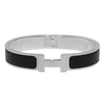 Hermes Matte Black Enamel Narrow Clic Clac Bracelet