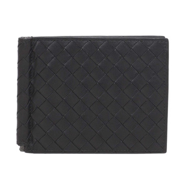 Bottega Venetta Black Intrecciato Money Clip Wallet