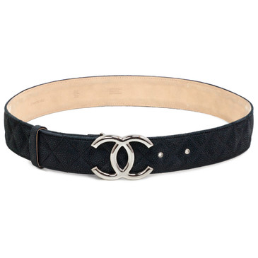 Chanel Matte Black Caviar Leather CC Belt