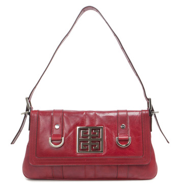 Givenchy Red Distressed Calfskin Small Shoulder Flap Bag