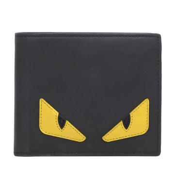 Fendi Black Leather Bag Bugs Billfold Wallet