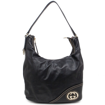 Gucci Black Leather Britt Hobo  Bag