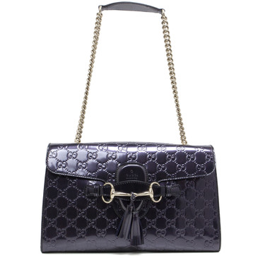 Gucci Purple Shiny Guccissima Medium Emily Chain Shoulder Bag