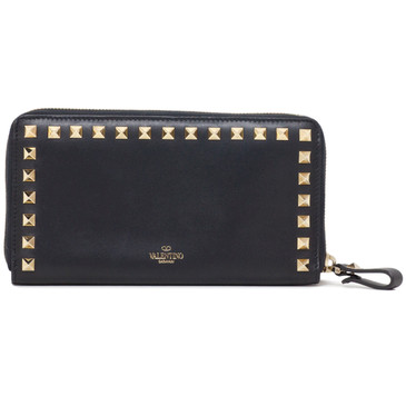 Valentino Black Calfskin Rockstud Continental Zip Wallet