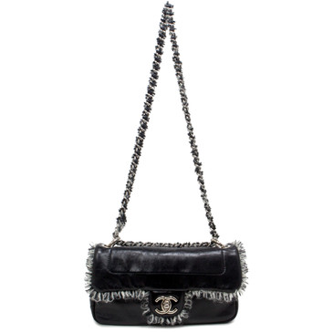 Chanel Black Glazed Calfskin & Tweed Flap Bag