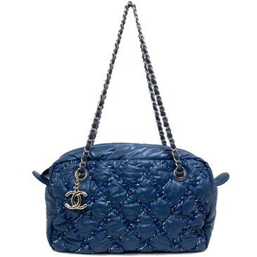 Chanel Blue Nylon Tweed Stitch Bubble Camera Bag
