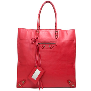 Balenciaga Red Calfskin Papier Ledger Tote