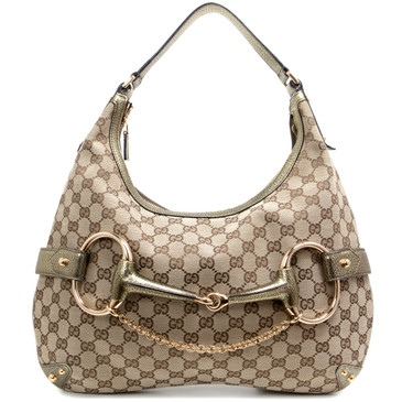 Gucci Monogram Canvas Horsebit Hobo