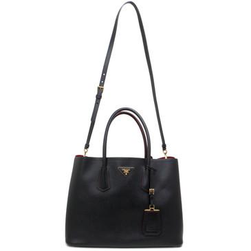 Prada Black Saffiano Cuir Medium Double Bag