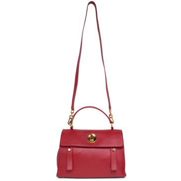 Saint Laurent Red Calfskin Muse Two Bag