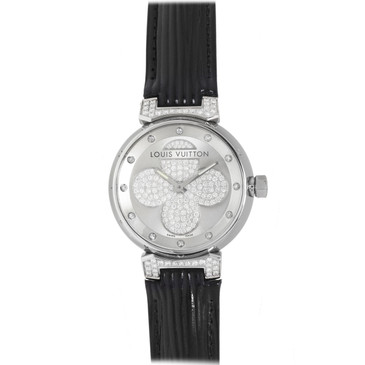Louis Vuitton Stainless Steel & Diamond Tambour Forever Watch