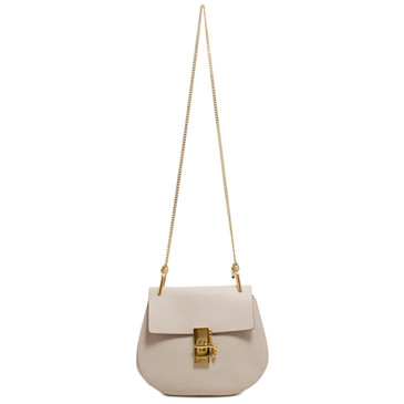 Chloe Abstract White Lambskin Small Drew Shoulder Bag