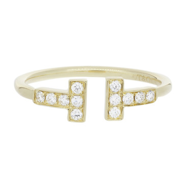 Tiffany & Co. 18K Yellow Gold & Diamond T Wire Ring