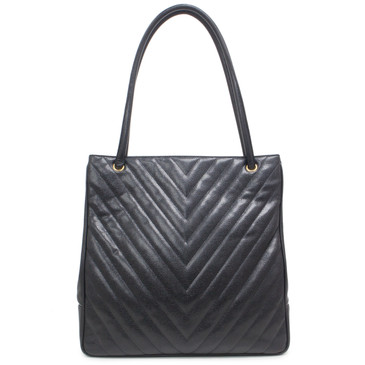 Chanel Vintage Black Chevron Quilted Caviar Tote