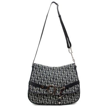 Christian Dior Navy Diorissimo Canvas Shoulder Bag