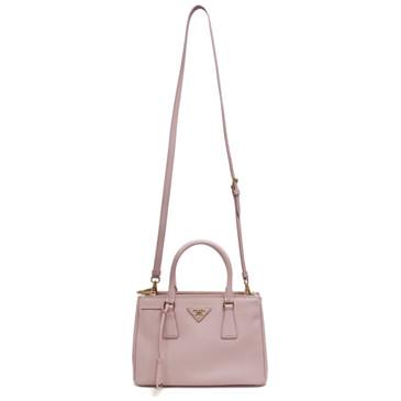 Prada Pink Saffiano Lux Mini Galleria Double Zip Tote