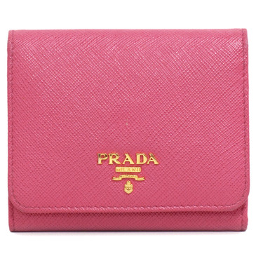 Prada Pink Saffiano Metal Trifold Compact Wallet