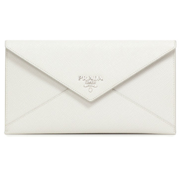 Prada White Saffiano Metal Envelop Wallet