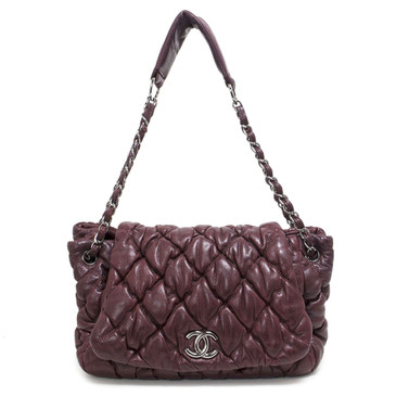 Chanel Burgundy Bubble Quilted Lambskin Flap Bag