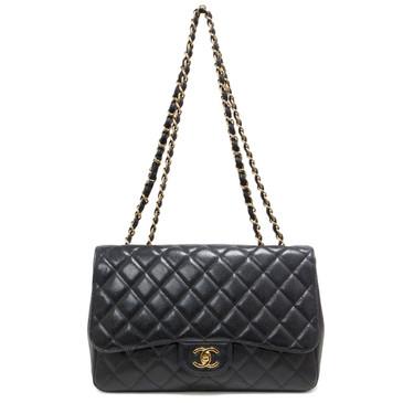 Chanel Black Quilted Caviar Jumbo Single Flap