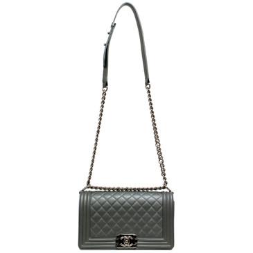 Chanel Metallic Silver Quilted Caviar Medium Boy Bag
