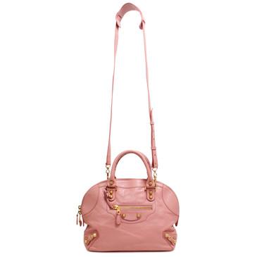 Balenciaga Pink Lambskin Giant 12 Mini Bowling Bag