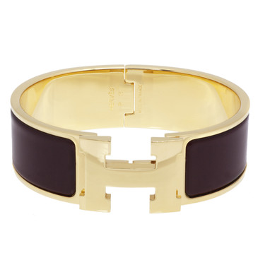 Hermes Burgundy Enamel Wide Clic Clac Bracelet