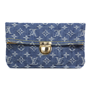 Louis Vuitton Monogram Denim Pochette Plat  Clutch