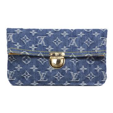 Louis Vuitton Monogram Denim Pochette Plat  Clutch