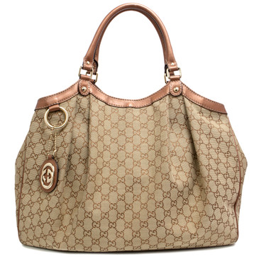 Gucci Bronze Monogram Large Sukey Tote
