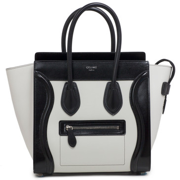 Celine Black & White Calfskin Micro Luggage Tote