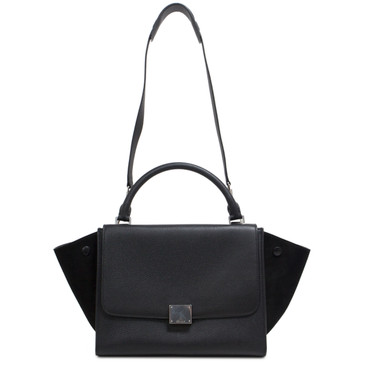 Celine Black Pebbled Calfskin & Suede Small Trapeze Bag