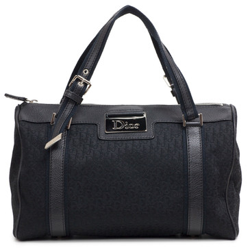 Christian Dior Black Diorissimo Canvas Boston Bag