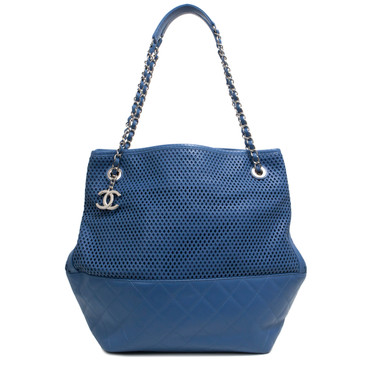 Chanel Blue Calfskin Up In The Air North South Tote