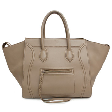 Celine Beige Smooth Calfskin Medium Phantom Luggage Tote